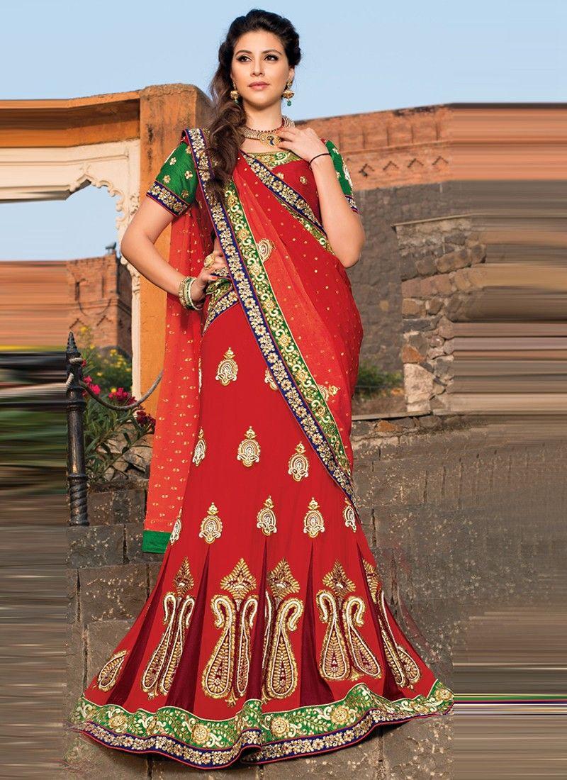 Markable Maroon Net Stone Wedding Lehenga Choli