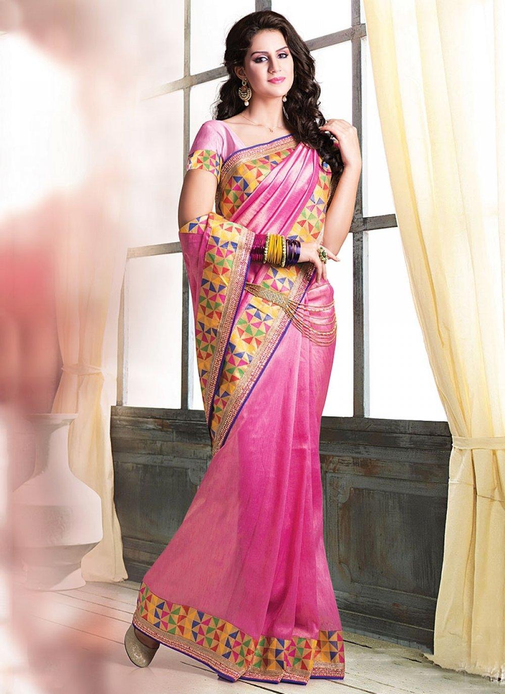 Markable Pink Jute Saree