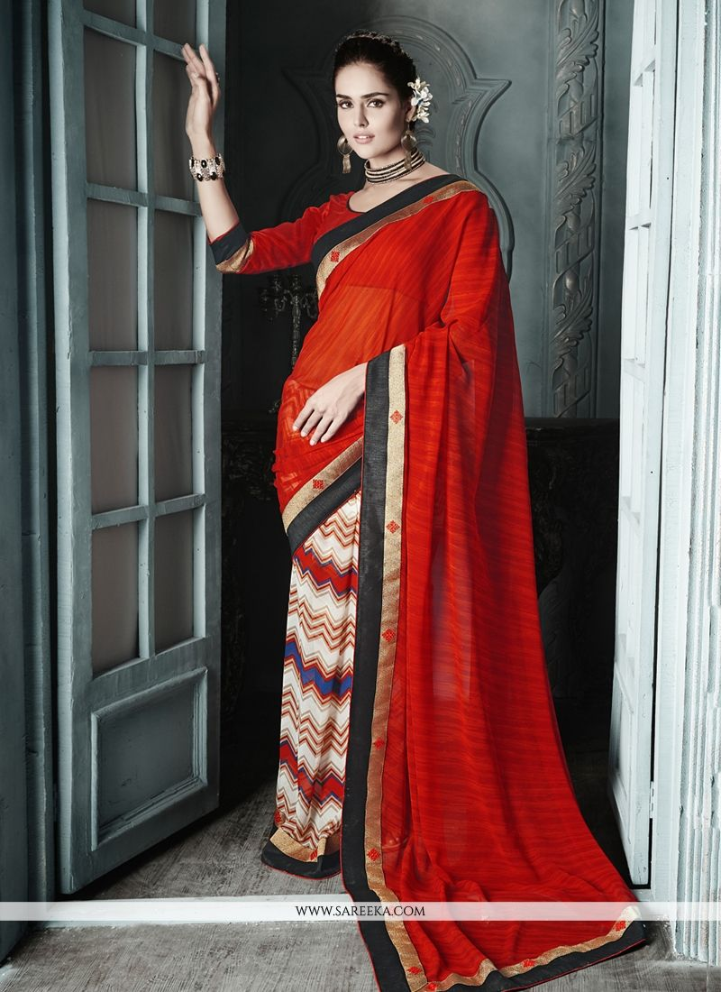 Markable Red And Cream Georgette Casual Saree