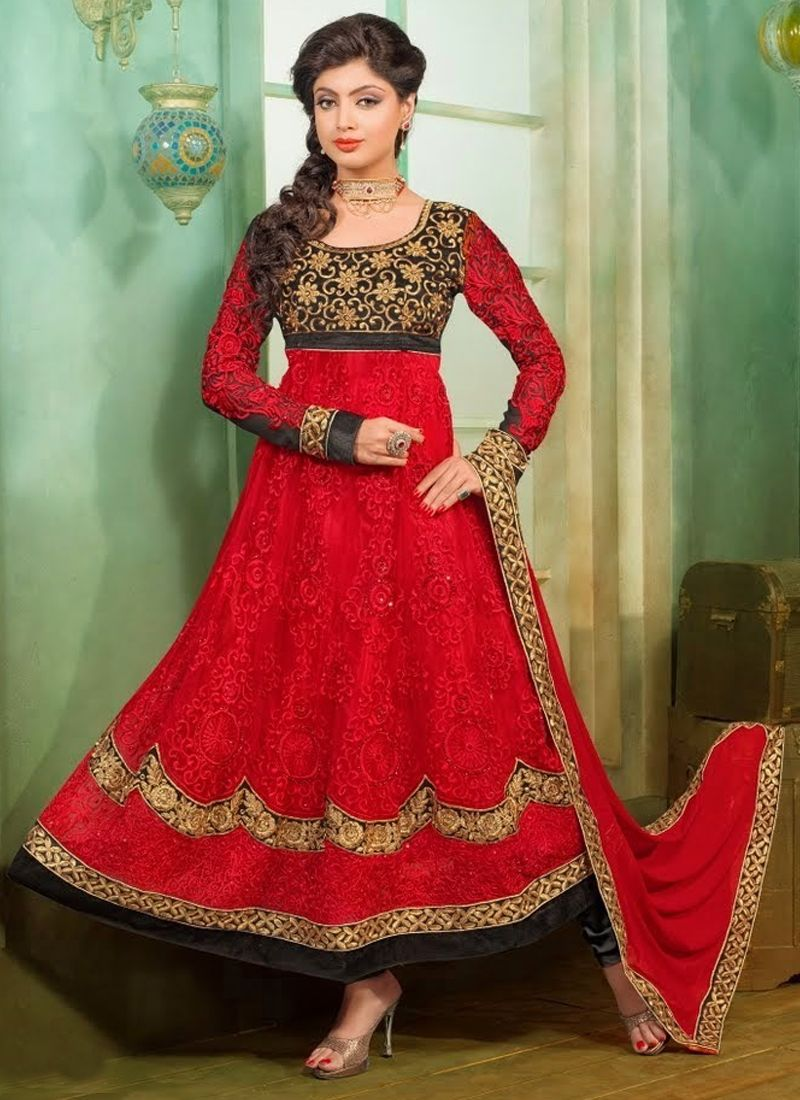 Markable Red Embroidery Anarkali Suit