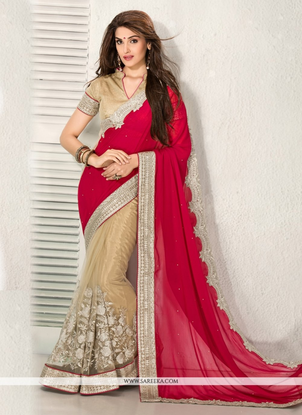 Maroon And Beige Chiffon And Net Wedding Saree