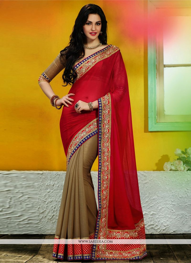 Maroon And Beige Faux Chiffon Designer Saree