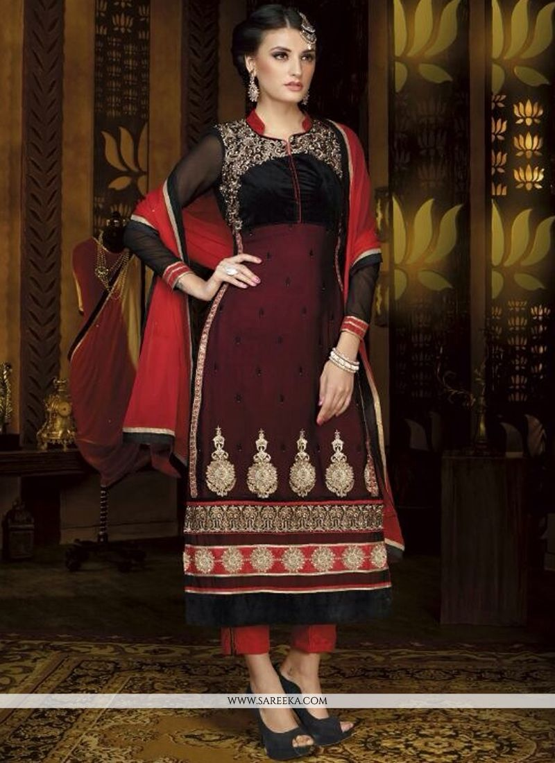 Maroon And Black Georgette Pant Style Suit