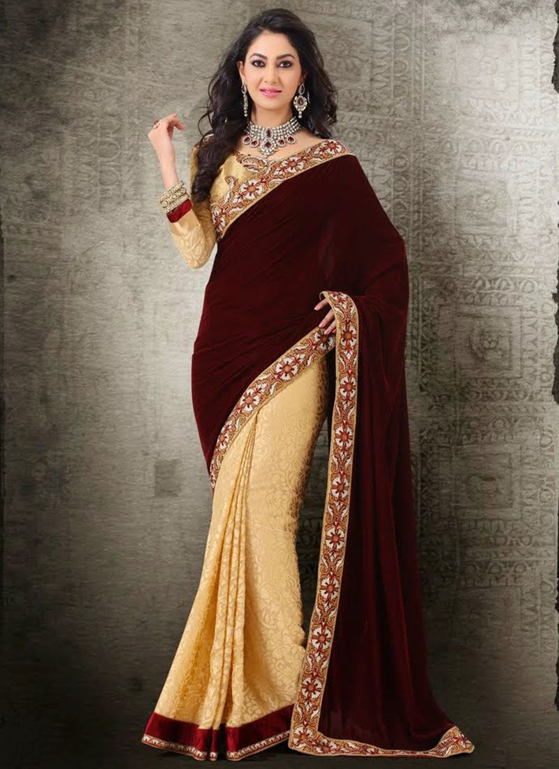 Maroon And Cream Border Work Velvet Half And Half Saree