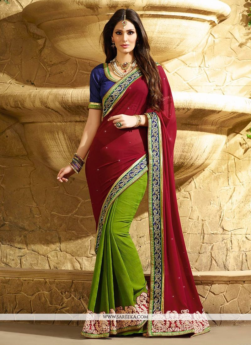 Maroon And Green Georgette Satin Designer Saree