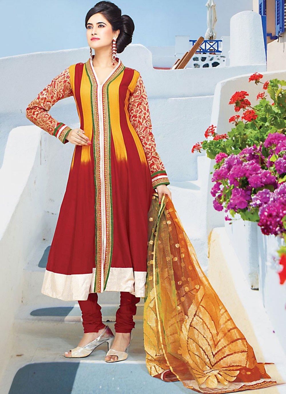 Maroon Faux Georgette Churidhar Suit