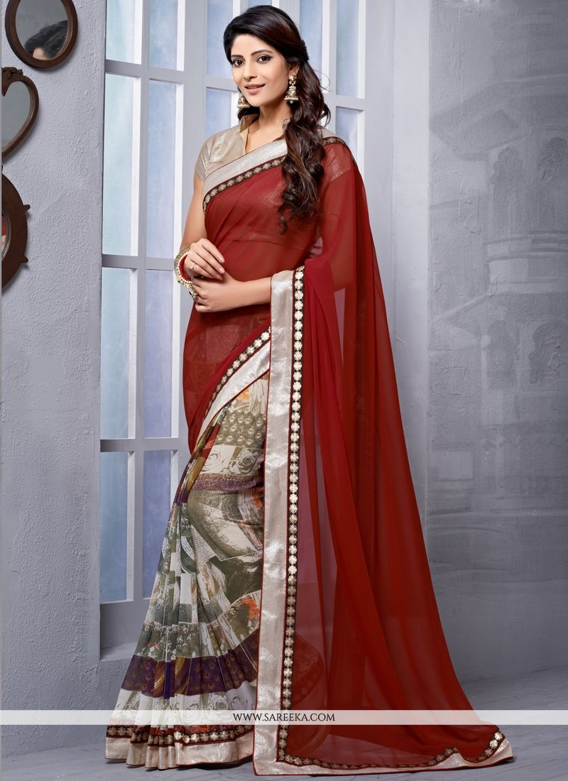 Maroon Lace Work Georgette Casual Saree