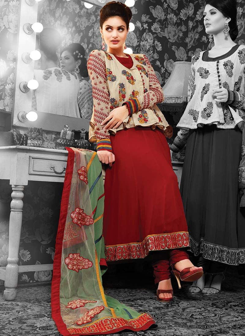 Maroon Resham Adorned Pakistani Suit