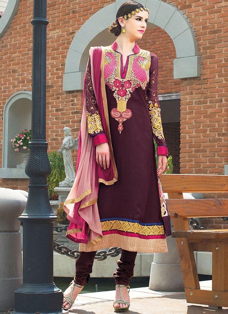 Purple Resham Work Faux Georgette Churidar Suit