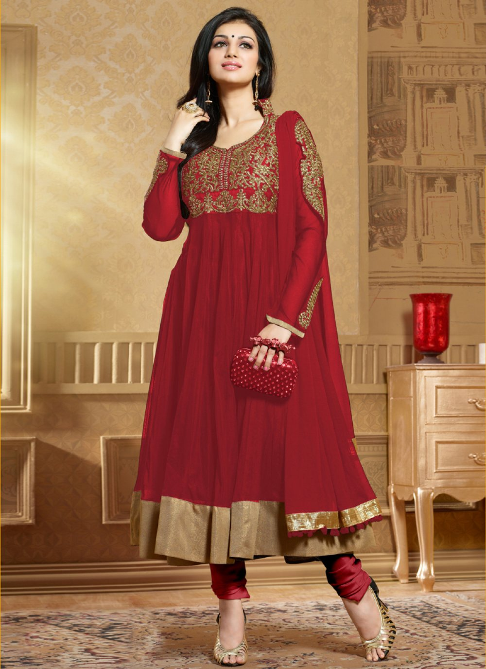 Maroon Soft Net Anarkali Salwar Suit