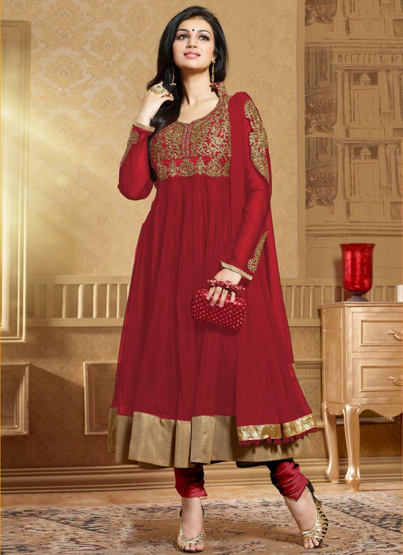 Maroon Soft Net Anarkali Salwar Suit