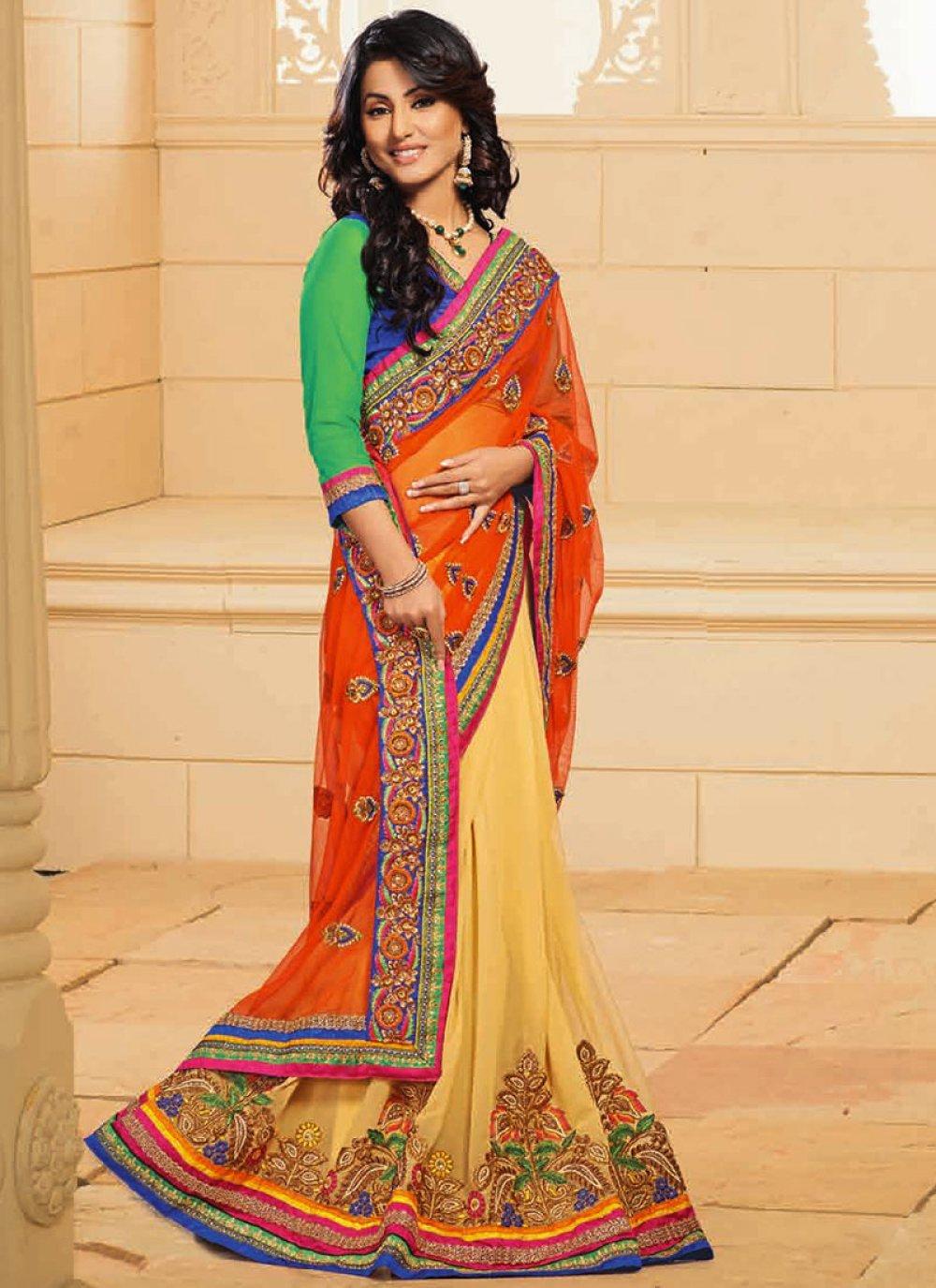 Akshara Yellow And Orange Net Designer Saree