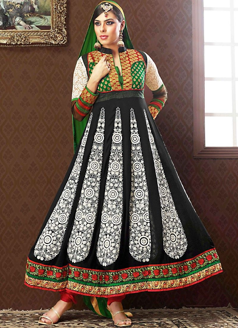 Aloe Vera Green, Bick Red & Jet Black Anarkali Suit