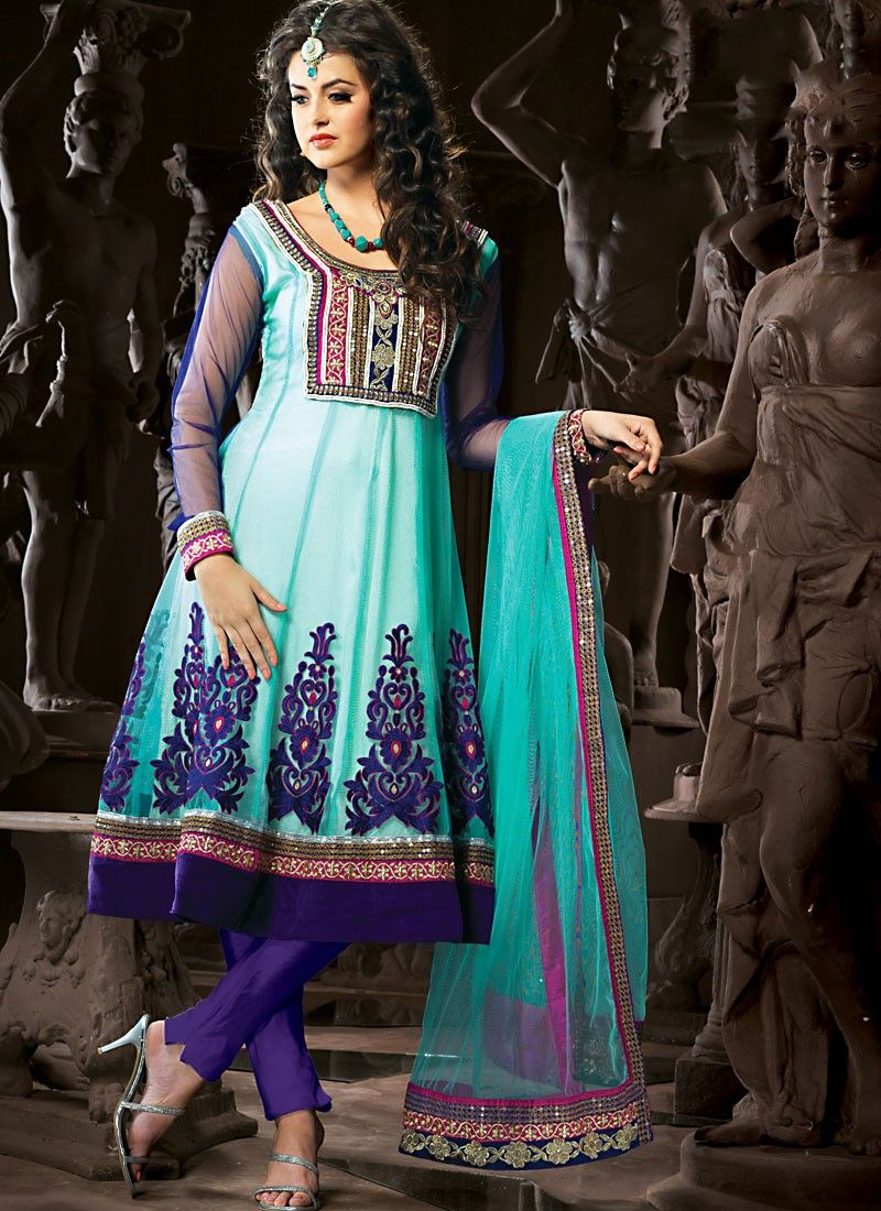 Aqua Blue & Deep Purple Anarkali