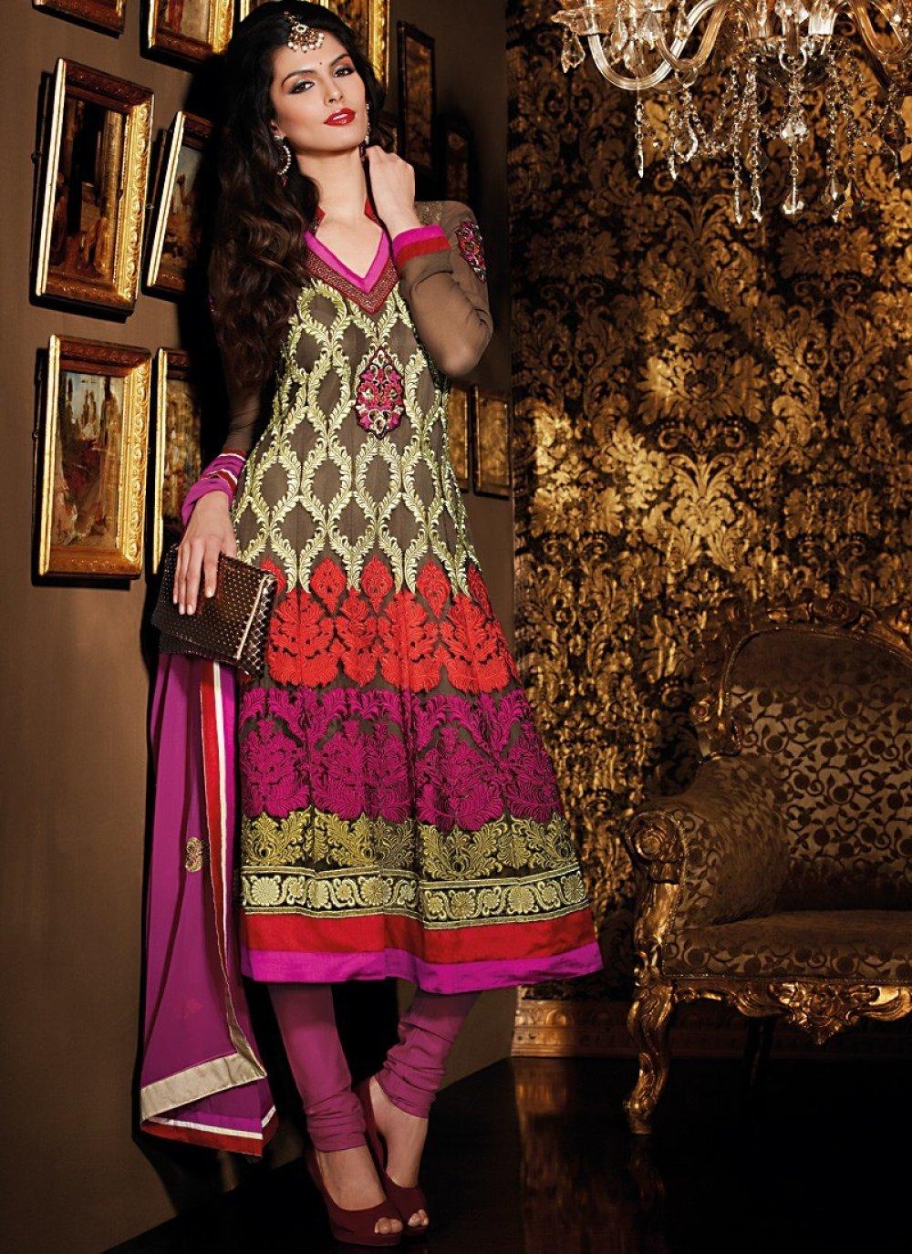 Bige Brown & Deep Pink Salwar Kameez
