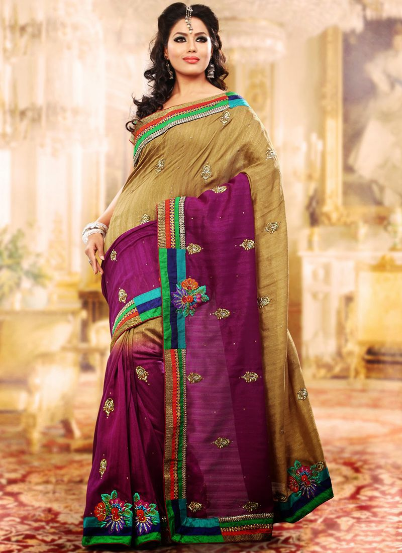 Bige Brown & Magenta Embroidered Saree