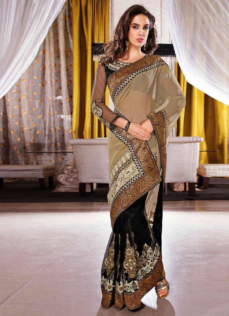 Black And Beige Net Half N Half Saree