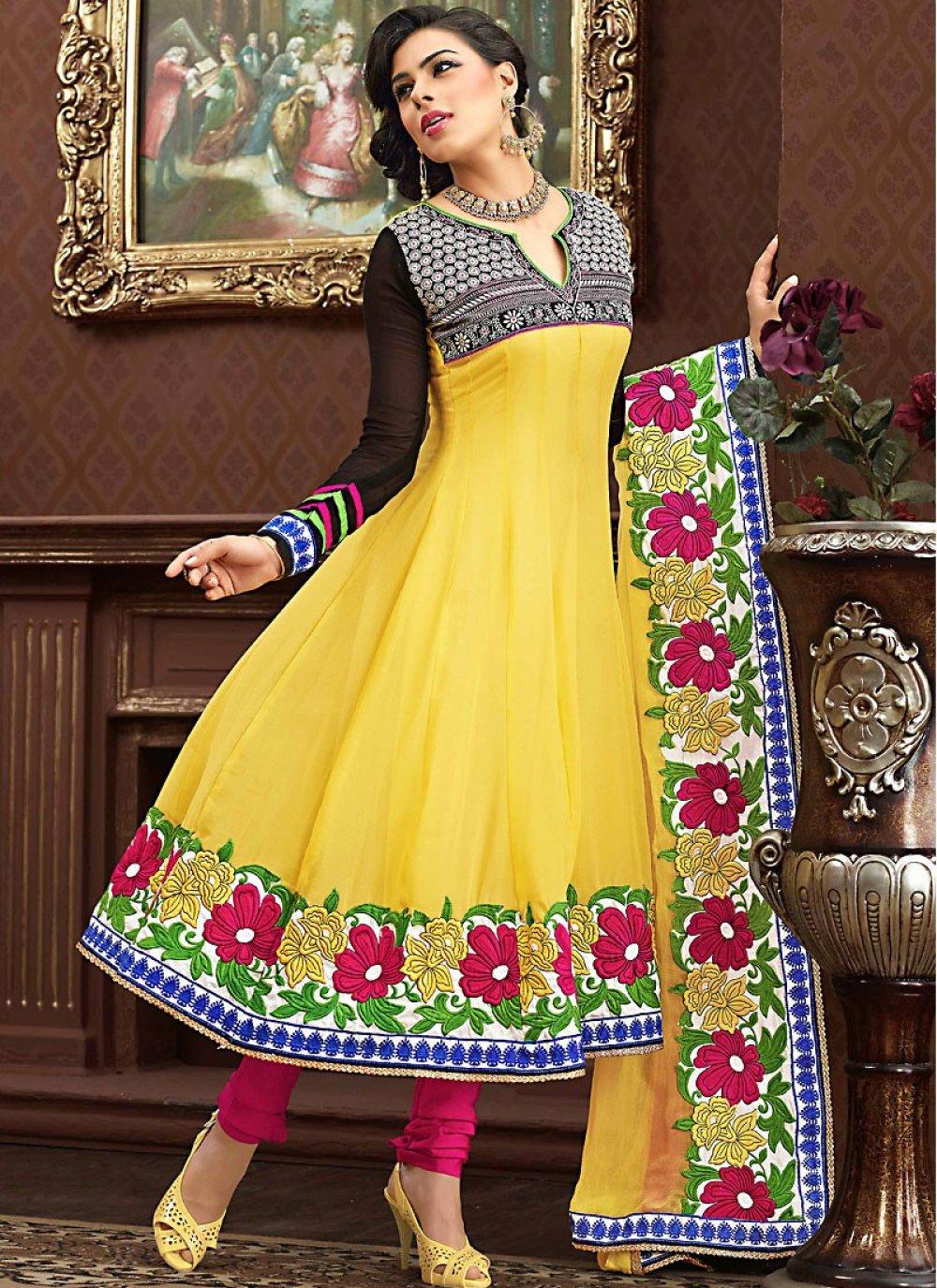Black & Gold Color Anarkali Suit