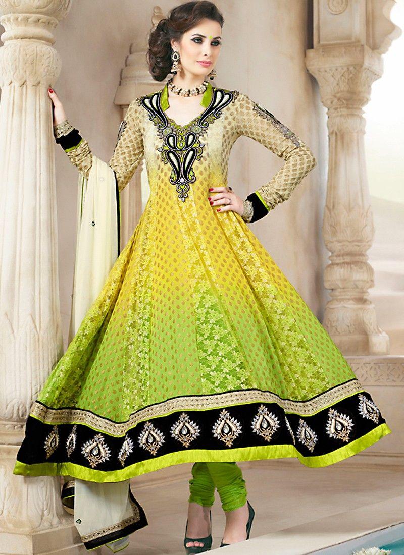 Black, Off White & Yellow Salwar Kameez