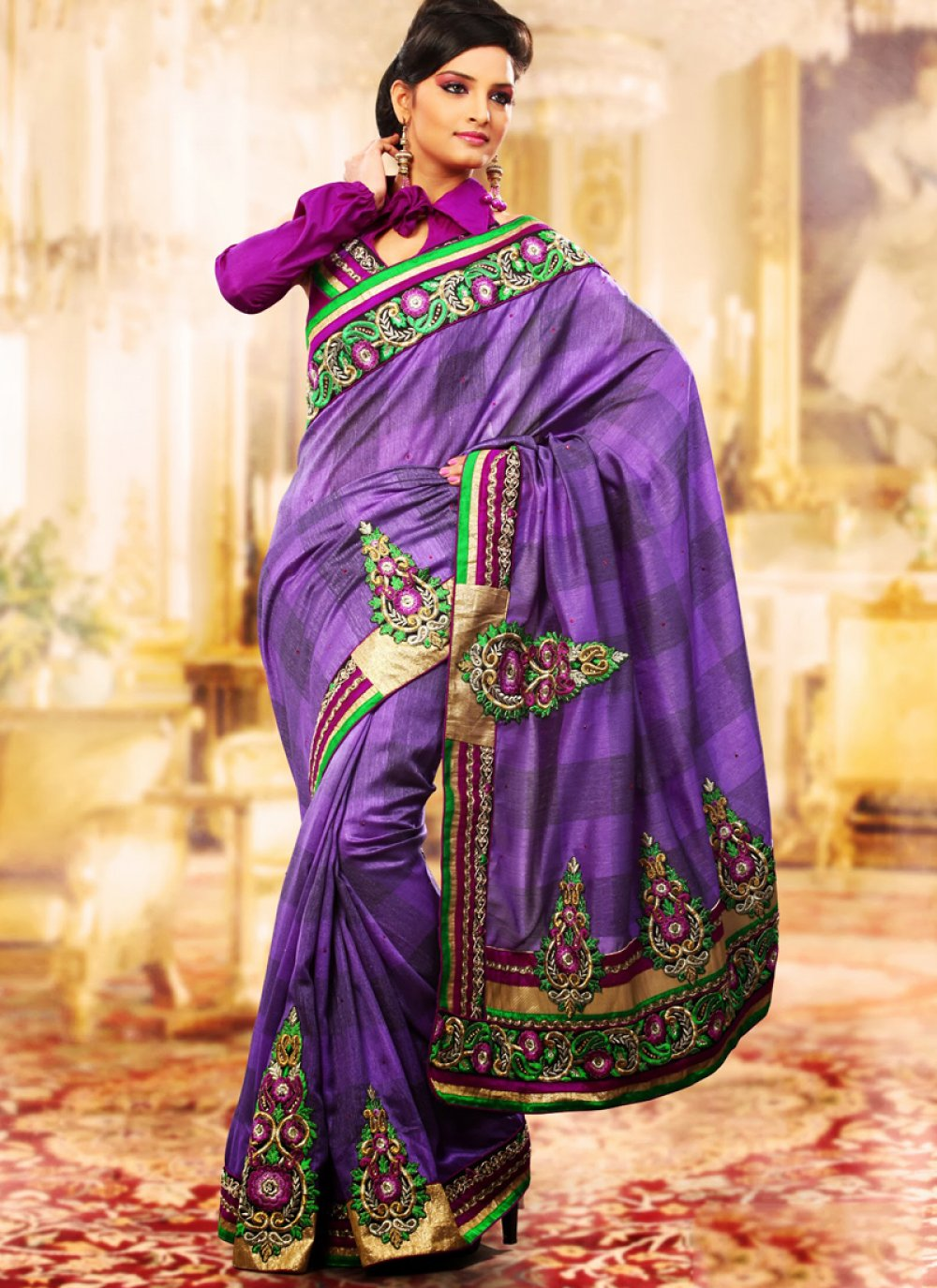 Bluish Purple Embroidered Saree