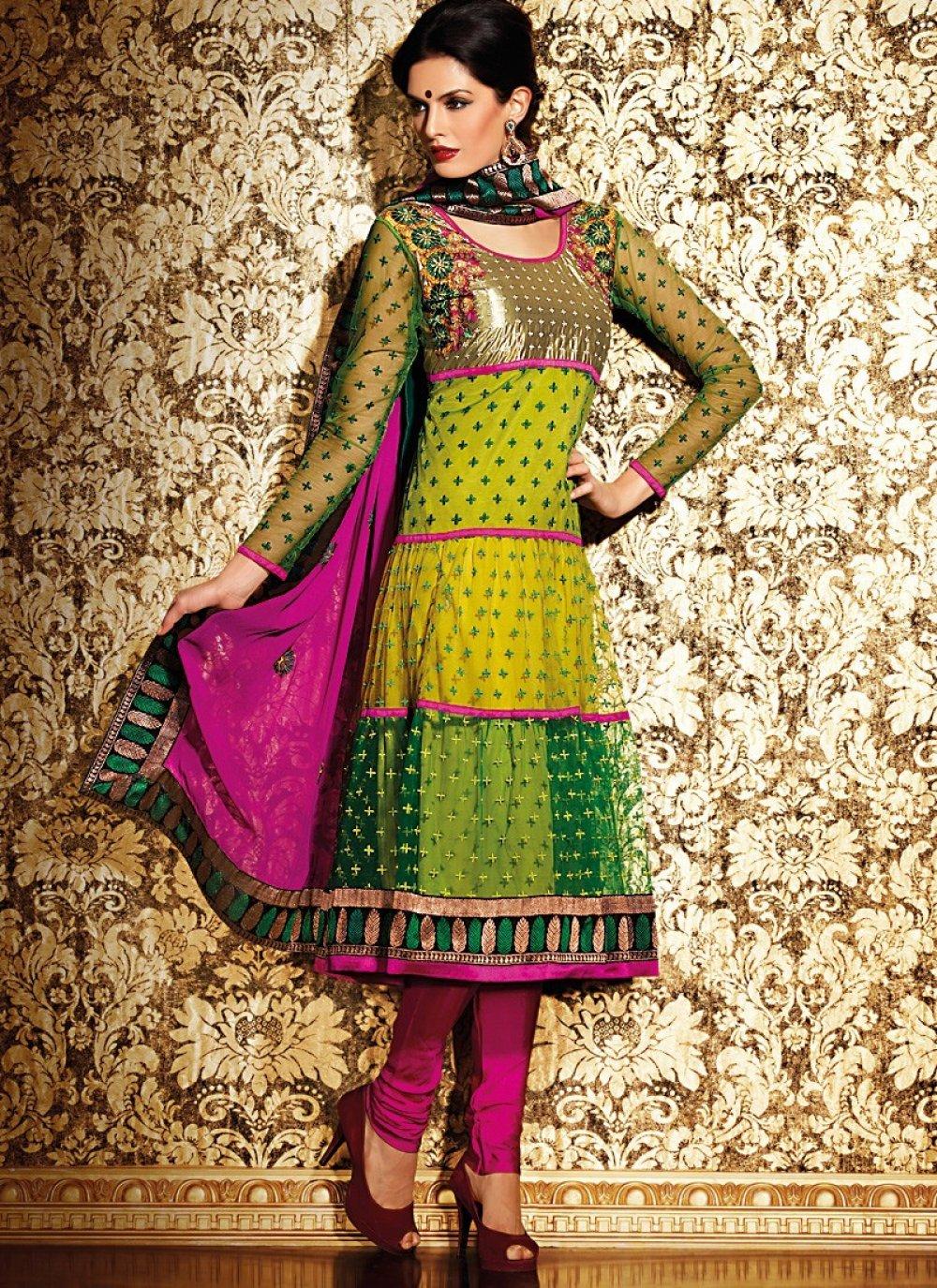 Bottle Green & Gold Color Salwar Kameez