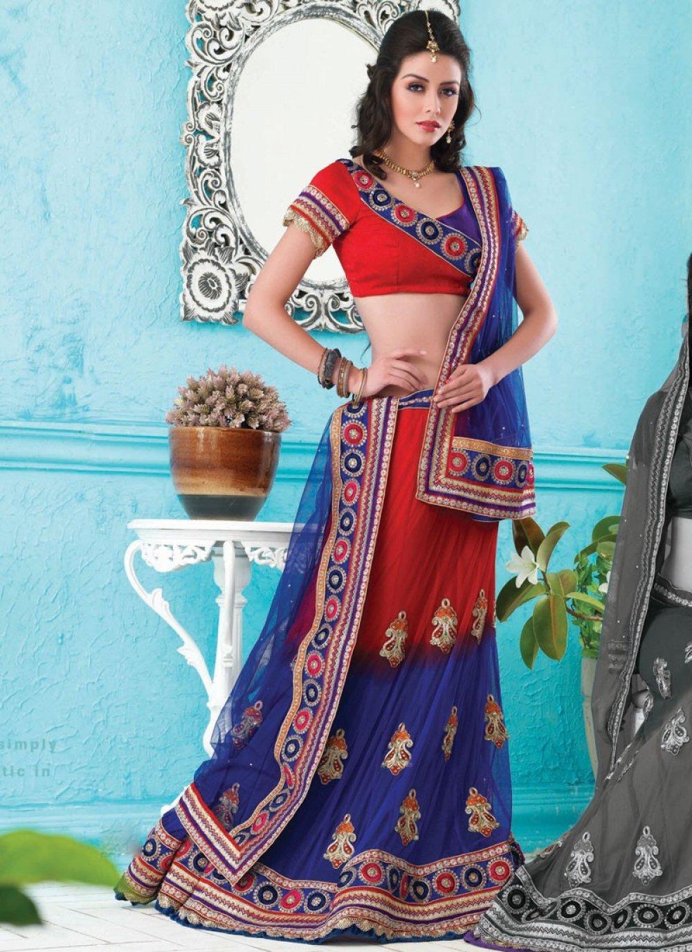 Brick Red & Deep Blue Lehenga Choli