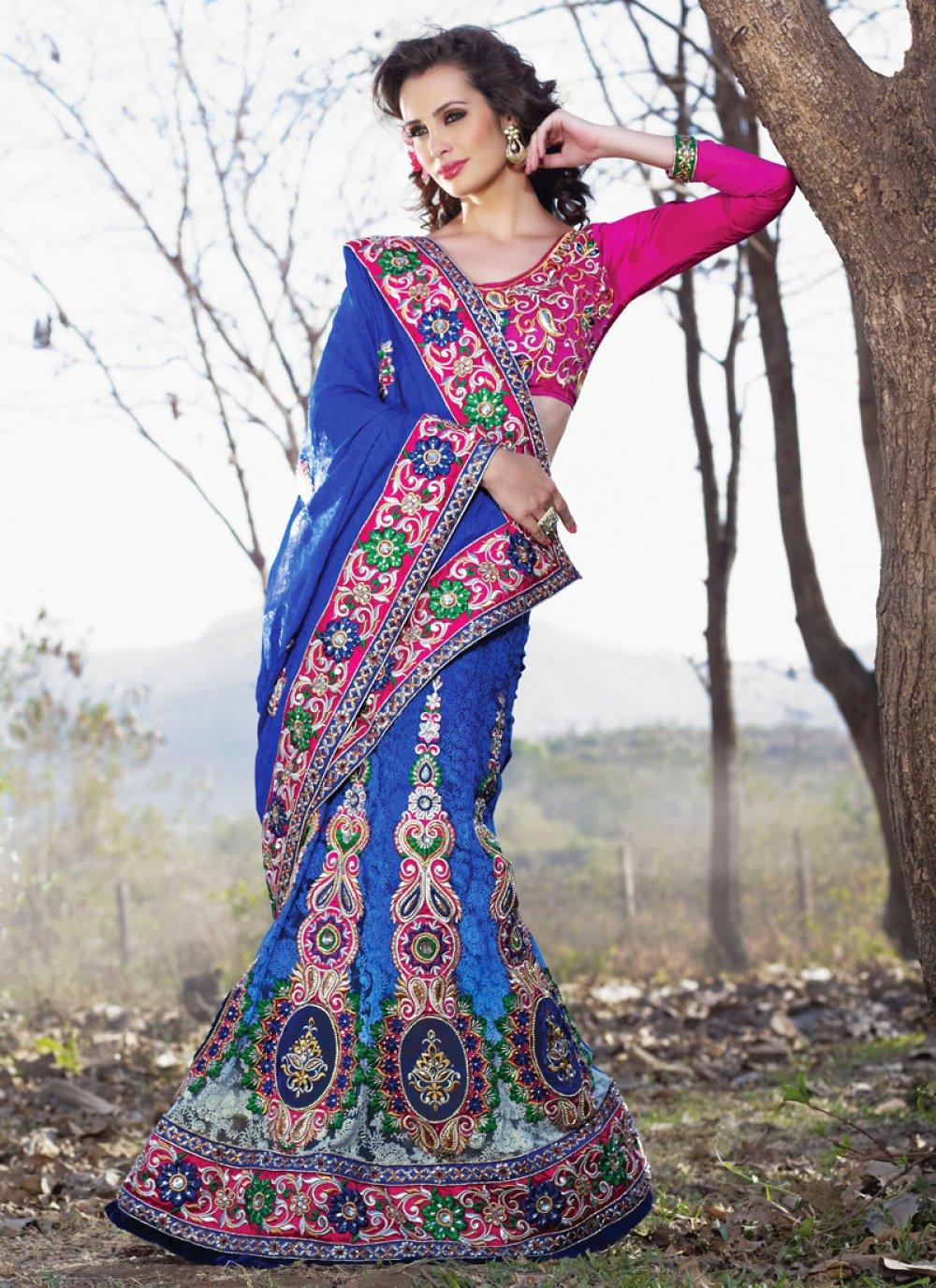 Deep Blue Embroidered Saree