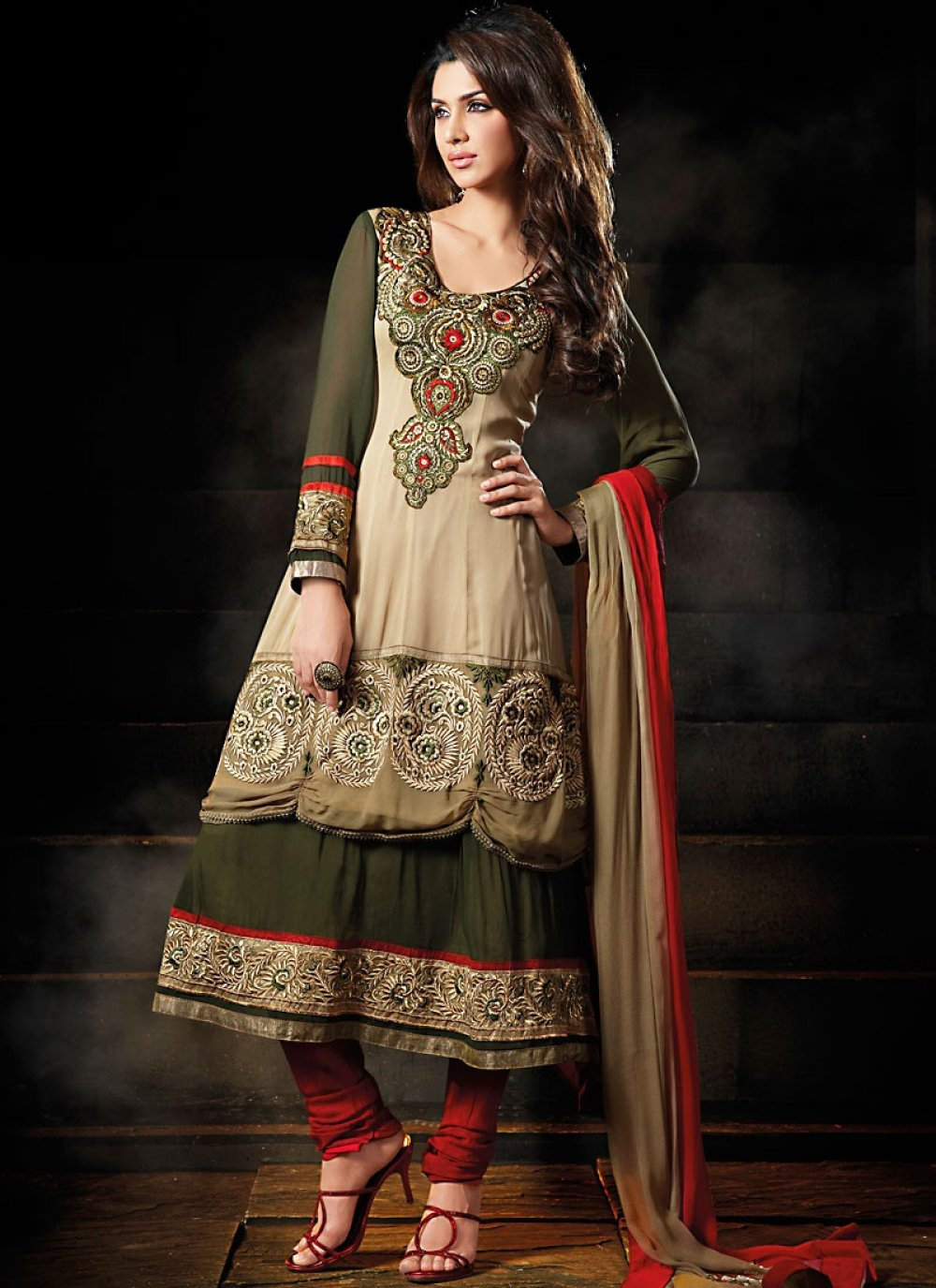 Deep Olive Green & Brown Salwar Kameez