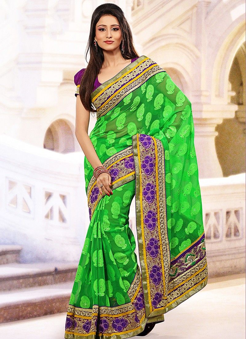 Lime Green Kota Jacquard Saree