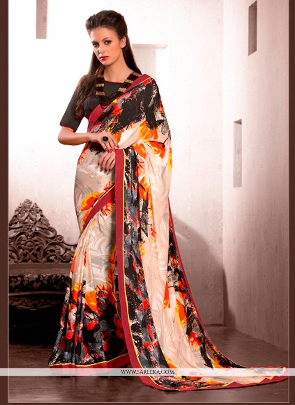 Multi Colour Print Work Crepe Silk Casual Saree