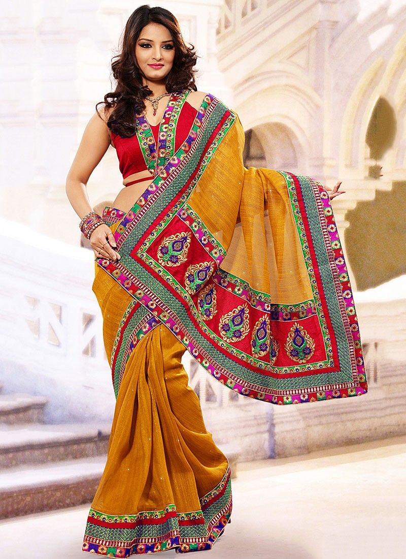 Mustard Resham Enhanced Saree
