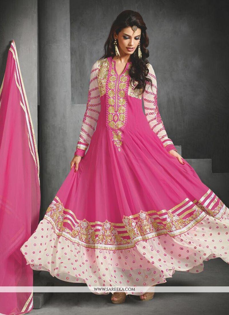 Pink Faux Georgette Anarkali Suit