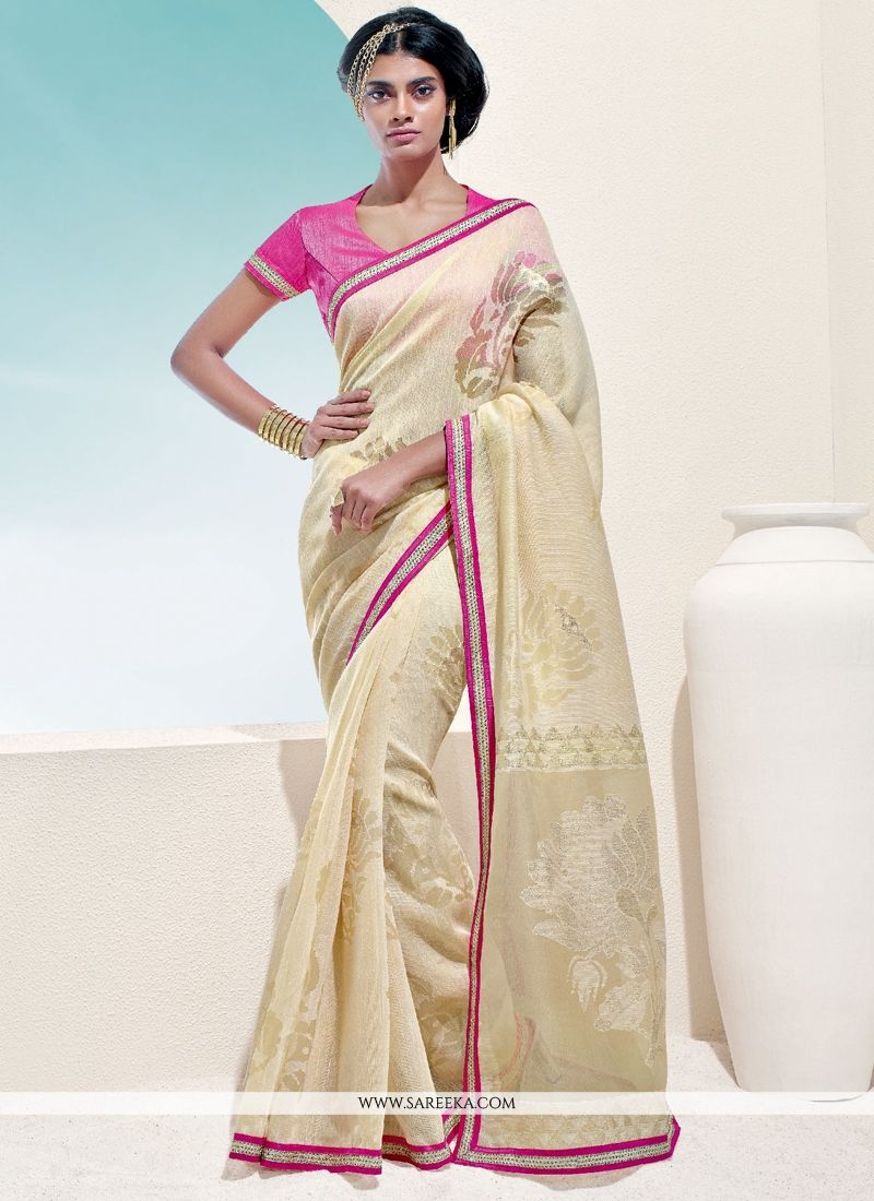 Print Work Cream Designer Saree