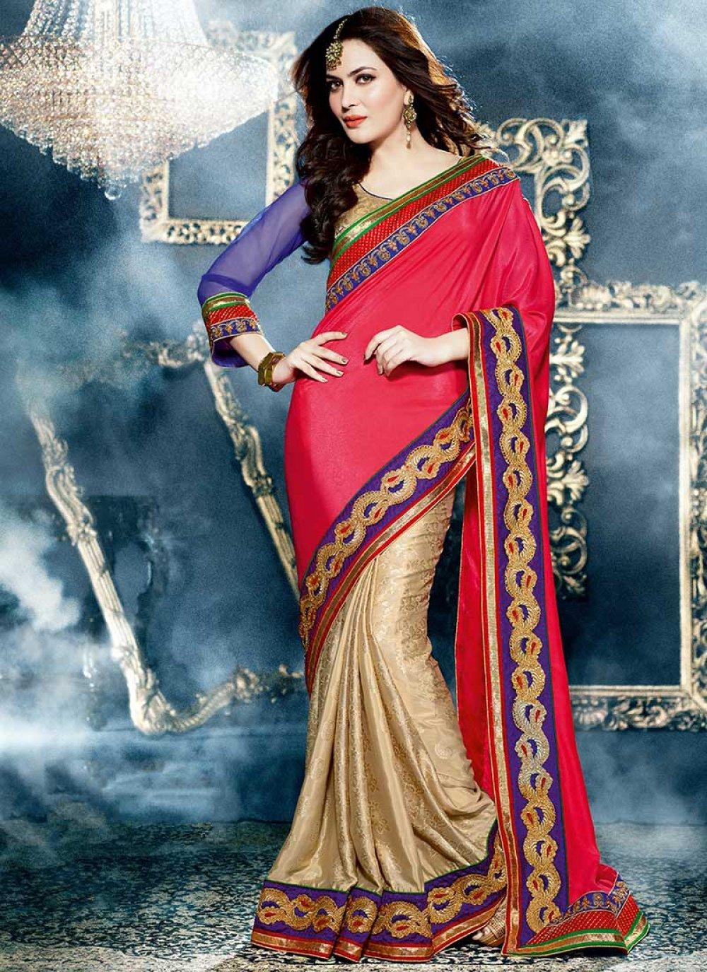 Red And Beige Satin Silk Half And Half Saree