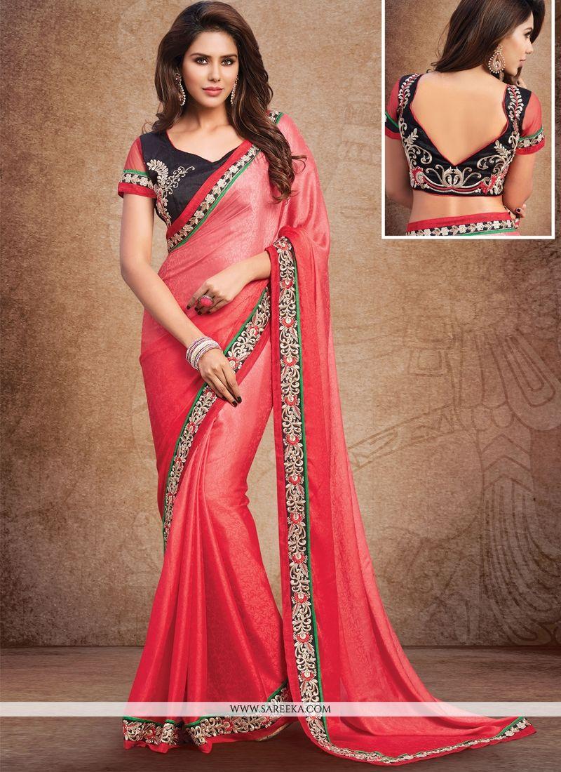 Red Embroidered Work Crepe Jacquard Designer Saree