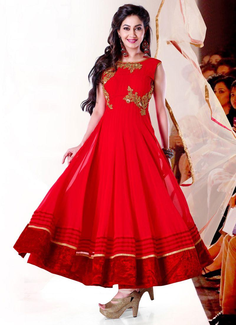 Red Georgette Anarkali Salwar Suit