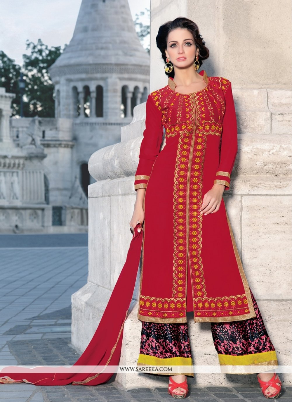 Red Lace Work Georgette Designer Palazzo Suit
