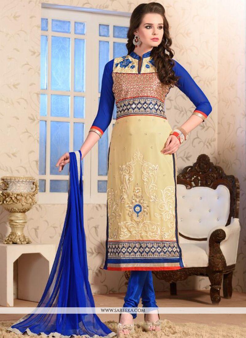 Resham Work Georgette Churidar Salwar Kameez