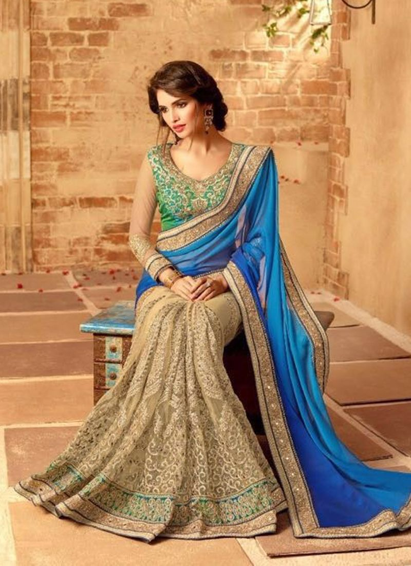 masterly beige and blue designer bridal sarees