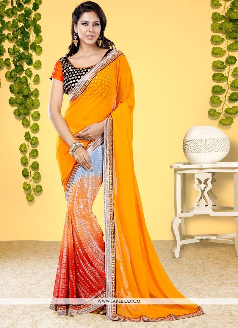 Georgette Designer Half N Half saree