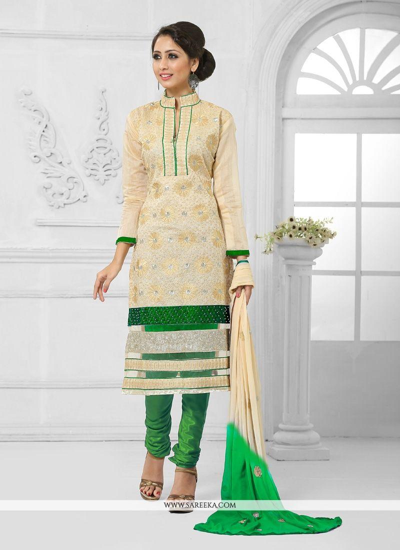 Green and Cream Resham Work Churidar Salwar Suit
