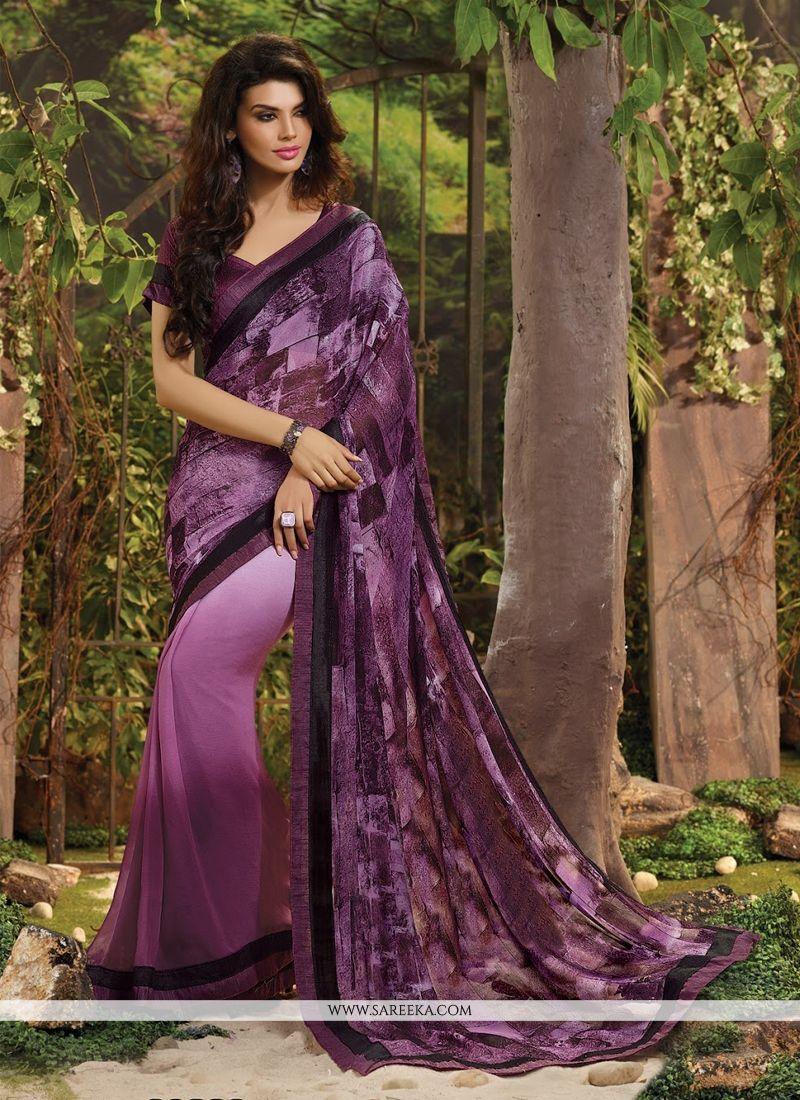 Lace Work Purple Casual Saree