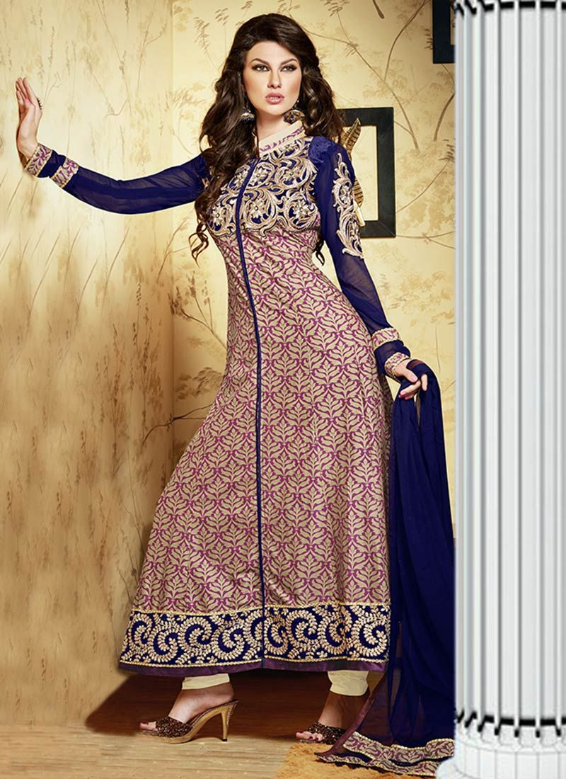 Mauve Cream Resham Work Cotton Anarkali Suit