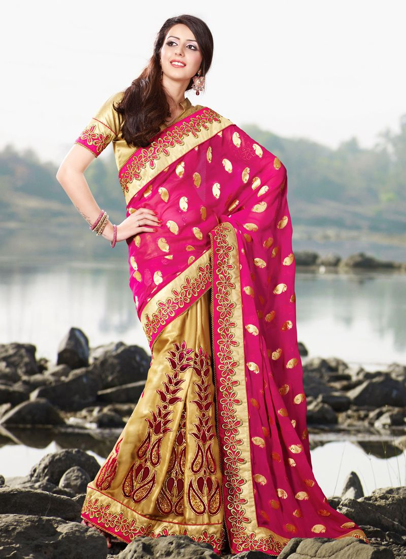 Melodic Bige Brown & Deep Pink Embroidered Saree