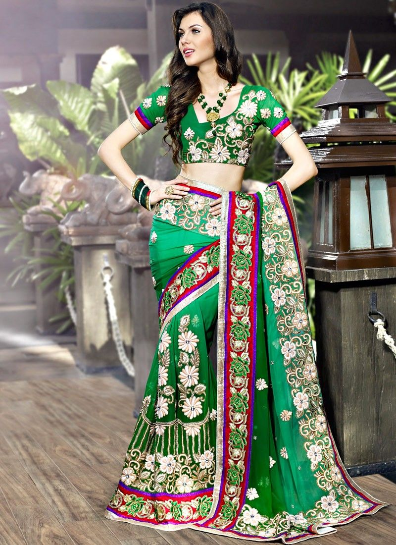 Melodic Bottle Green & Emerald Green Embroidered Saree