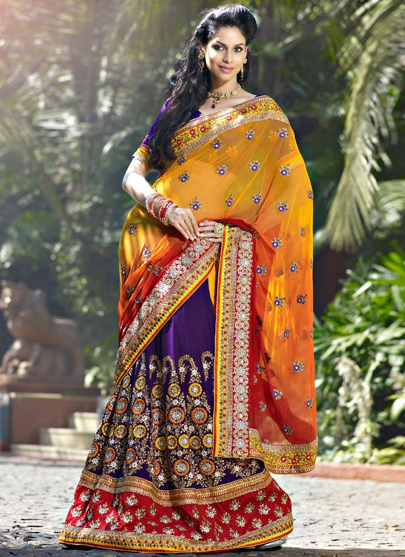 Melodic Deep Purple & Orange Embroidered Saree