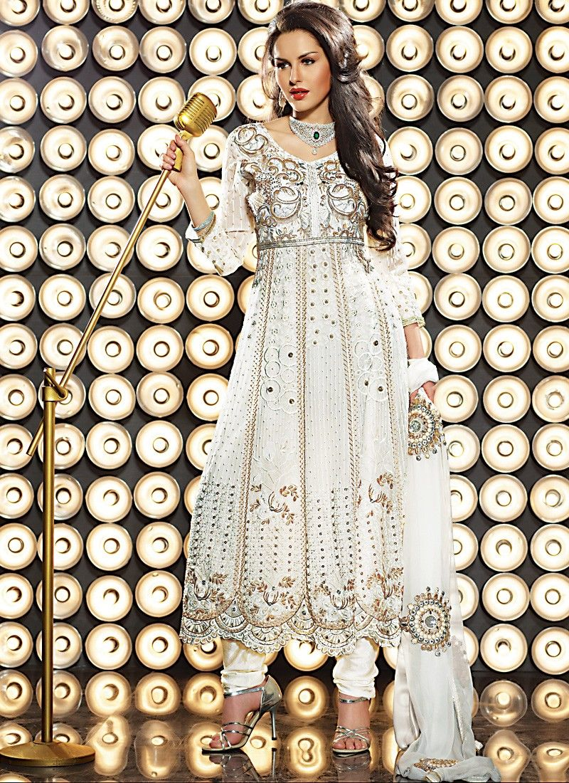 Melodic Off White Anarkali