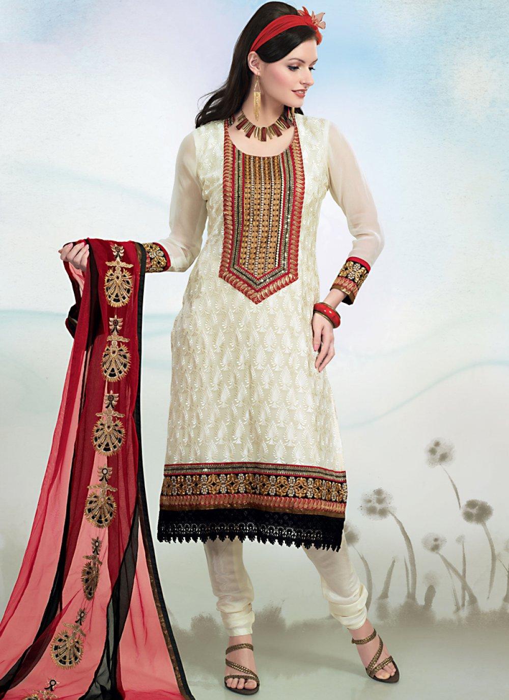 Melodic White Salwar Kameez