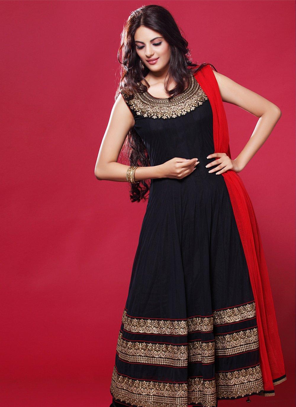 Black And Red Zari Work Churidar Suit