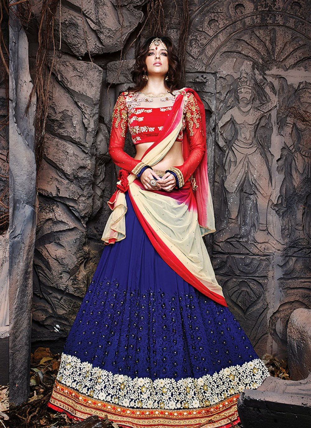 Blue Georgette Lehenga Choli